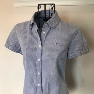 Tommy Hilfiger Short Sleeve Button Down Blouse Top